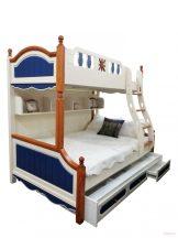 Двуетажно легло Верона  мaсив синьо